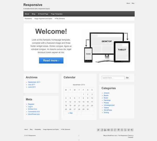 WordPressのテーマ「responsive」の案内画面