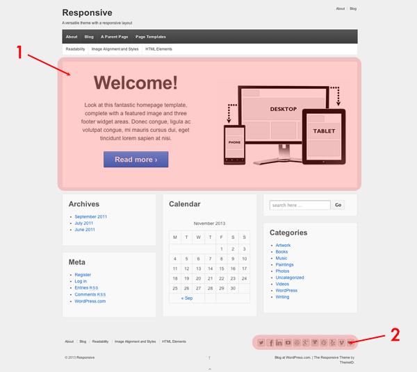 テーマ「responsive」のメインビジュアルをカスタマイズする部分の画面