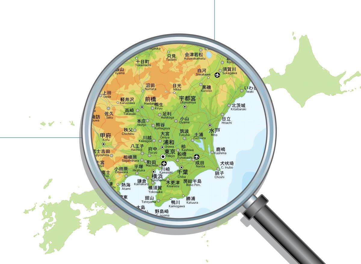 関東周辺の地図を拡大