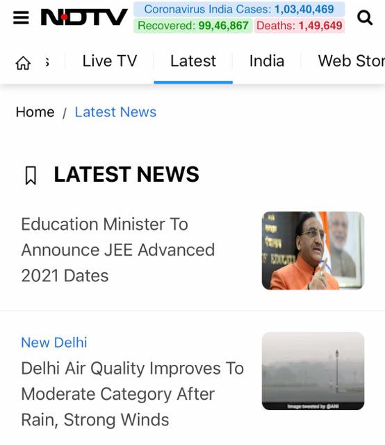 インド最大のメディア企業NDTVのWebサイトキャプチャ